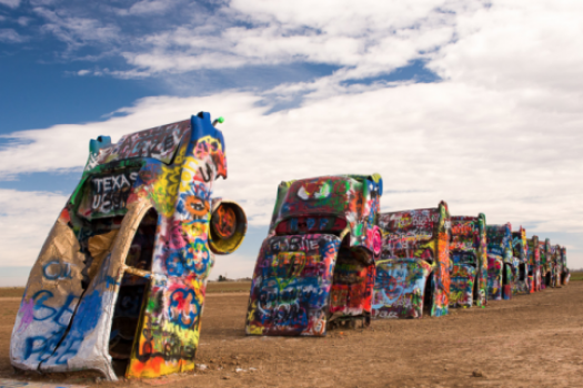 Cadillac Ranch Along Route 66 In Amarillo Texas